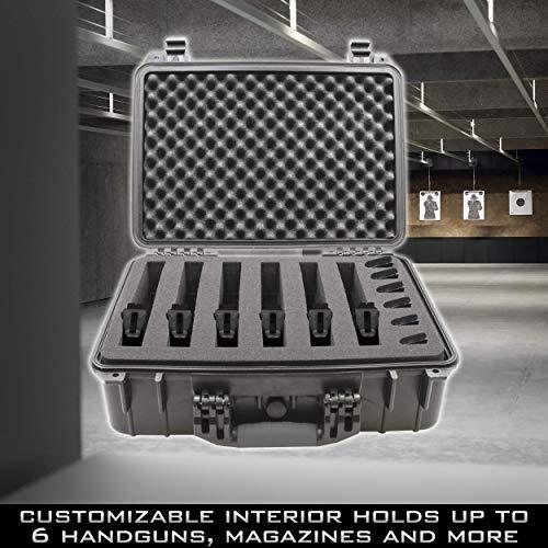 "CASEMATIX Pistol Case 3 CASEMATIX 18"" Customizable 6 Pistol Multiple Pistol Case - Waterproof & Shockproof Hard Gun Cases for Pistols, Magazines and Accessories - Multi Gun Case for Pistols with 3"" Thick Customizable Foam"