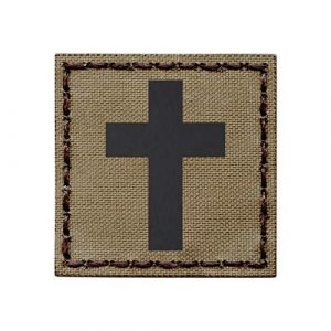 Tactical Freaky Airsoft Morale Patch 1 IR Tan 2x2 Christian Cross Jesus Christ Crucifix Coyote Brown Faith Religion God Infrared Tactical Morale Hook-and-Loop Patch