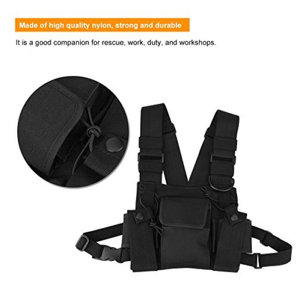 Hakeeta Airsoft Tactical Vest 3 Hakeeta Walkie-Talkie Chest Bag, Nylon Chest Front Pack,Chest Harness.Universal Adjustable Bag with Three-Ring Adjustment Strap System for Rescue, Police, Duty and Workshopps