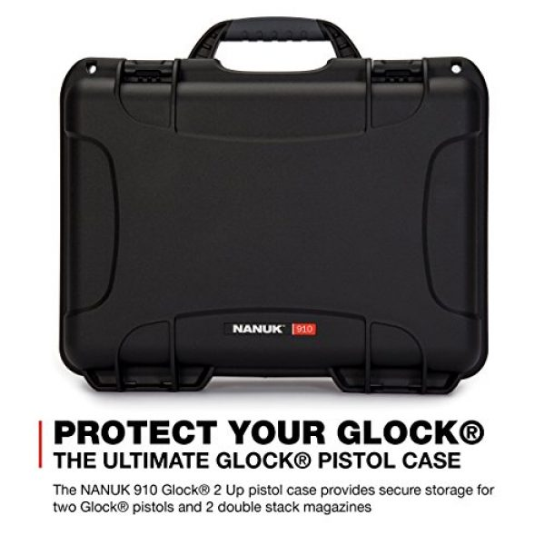 Nanuk Pistol Case 2 Nanuk 910 2UP Waterproof Hard Case w/Custom Foam Insert for Glock Pistols - Black
