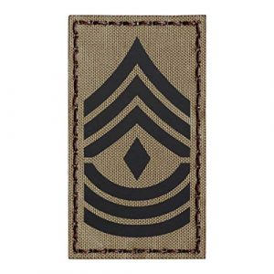 Tactical Freaky Airsoft Morale Patch 1 IR Tan 1st Sergeant 1SG E-8 Rank 2x3.5 US Army First Master Tactical Morale Hook-and-Loop Patch