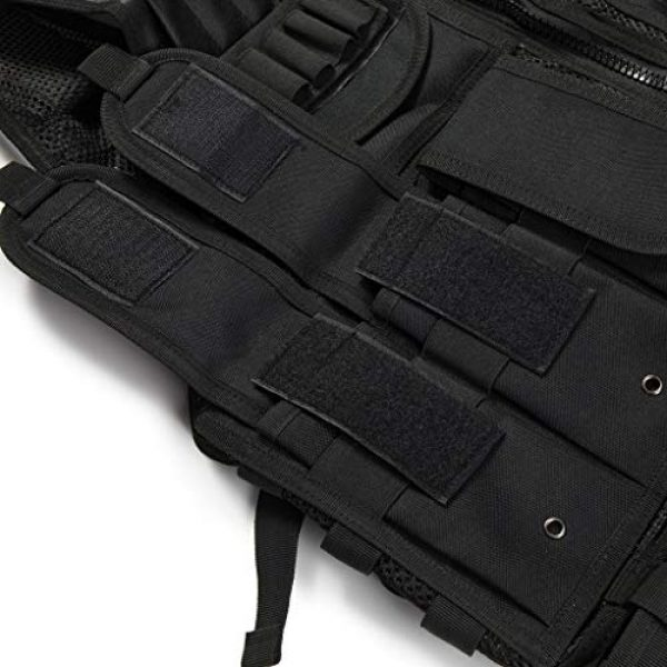 Jipemtra Airsoft Tactical Vest 5 Jipemtra Tactical MOLLE Airsoft Vest Adjustable Paintball Combat Training Vest Detachable for Hunting Mountaineering Outdoors (Black)
