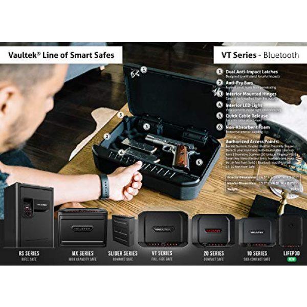 Vaultek Pistol Case 6 VAULTEK VTi Full-Size Biometric Handgun Bluetooth Smart Safe Multiple Pistol Safe with Auto-Open Lid and Rechargeable Battery