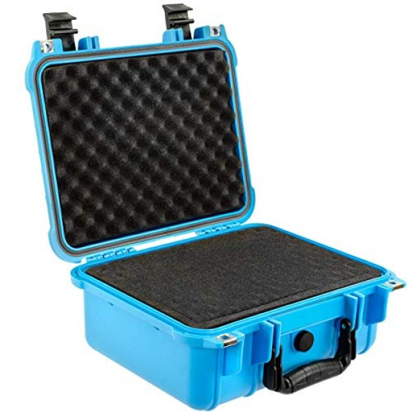 Eylar Pistol Case 5 Eylar Tactical Hard Gun Case Water & Shock Proof with Foam 13.37 inch 11.62 inch 6 inch Light Blue