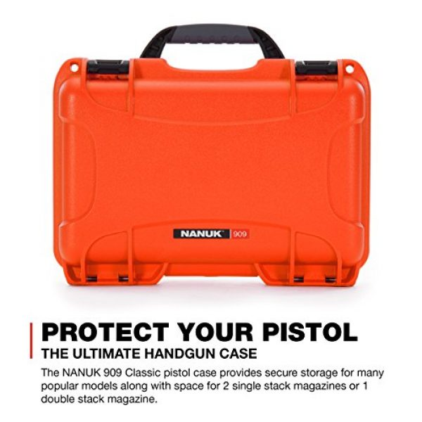 Nanuk Pistol Case 2 Nanuk 909 Waterproof Professional Glock Pistol/Gun Case, Military Approved with Custom Insert
