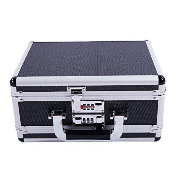 "brandless Pistol Case 1 Gun Security Safe Cabinet, Portable Aluminum Framed Gun Lock BoxDual Pistol Firearm and Valuables Safe with 3 Digits Combination Lock, Silver 11.81"" x 5.91"" x 9.05"""