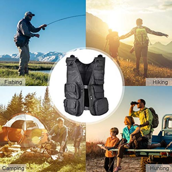 Alomejor Airsoft Tactical Vest 7 Alomejor Outdoor Sport Vest with Multi-Pocket Adjustable Breathable Vest Multifunctional Quick Dry Waistcoat for for Hiking Fishing Camping Hunting Shooting