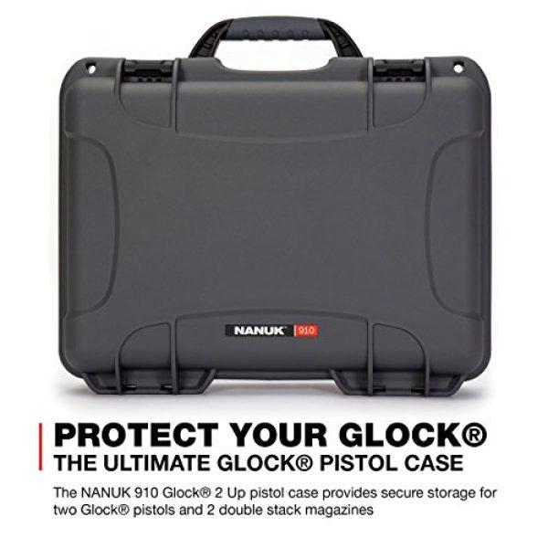 Nanuk Pistol Case 2 Nanuk 910 2UP Waterproof Hard Case w/Custom Foam Insert for Glock Pistols - Graphite