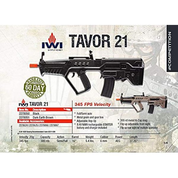 Elite Force Airsoft Rifle 5 Elite Force IWI Tavor AEG 6mm BB Rifle Airsoft Gun, Black, Tavor 21 (Competition Series), One Size (2278050)