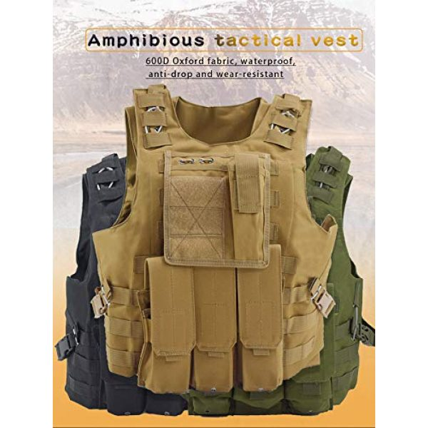 BGJ Airsoft Tactical Vest 5 BGJ Tactical Vest Military Combat Armor Vest Mens Army Airsoft Hunting Vest Adjustable Outdoor CS Paintball Training Protective Vest