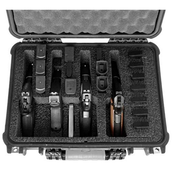 Case Club Pistol Case 2 Case Club 4 Pistol and 16 Magazine Pre-Cut Heavy Duty Waterproof Case with Included Silica Gel Canister to Help Prevent Gun Rust (Upgraded Gen-2)