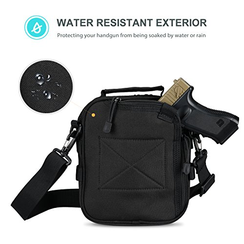 ProCase Pistol Case 4 ProCase Pistol Bag, Military Gear Tactical Handgun Shoulder Strap Bag Gun Ammo Accessories Pouch Shooting Range Duffle Bag for Shooting Range Sport - Black
