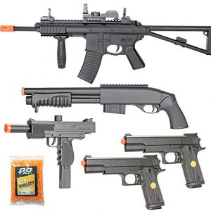 BBTac Airsoft Rifle 1 BBTac Airsoft Gun Package Desert Raider - Powerful Spring Rifle, Pump Action Shotgun, SMG, Two Pistols and BB Pellets, Preimum Airsoft Starter Pack