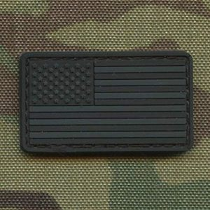 LEGEEON  1 LEGEEON Blackout Mini Small 1x1.75 USA America Flag Subdued Tactical Morale PVC Rubber Touch Fastener
