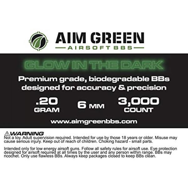 Aim Green Airsoft BB 6 Aim Green: Glow in The Dark Biodegradable Airsoft BBS 6mm - 3,000 Airsoft BBS Pellets .20g Rounds - Spring, Gas, Co2 and AEG Pistols - Precision Rounds for Air Soft Sniper Rifles