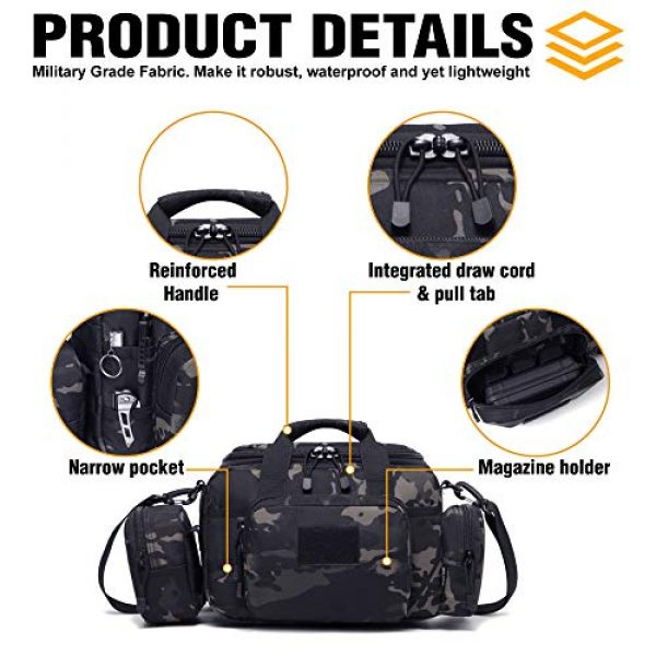 DBTAC Pistol Case 4 DBTAC DO More & BE More Gun Range Bag Small   Tactical 2X Pistol Shooting Range Duffle Bag with Lockable Zipper for Handguns and Ammo   US Flag Patch + MOLLE Pouch + Universal Holster Included