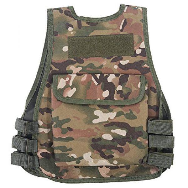 Fishlor Airsoft Tactical Vest 2 Fishlor Adjustable Camouflage Vest, Children Camouflage V-Neckline Vest with Multi Pocket for Outdoor Hunting Game(CP Camouflage L)