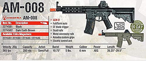Elite Force Airsoft Rifle 3 Elite Force Amoeba AM-008 AEG Automatic 6mm BB Rifle Airsoft Gun, FDE