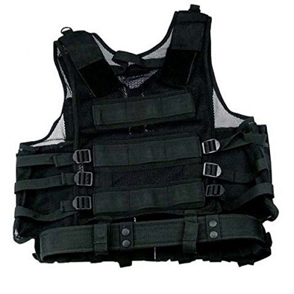 Taigear Airsoft Tactical Vest 2 Black Tactical Vest Rt Handed Holster SWAT Paintball Airsoft