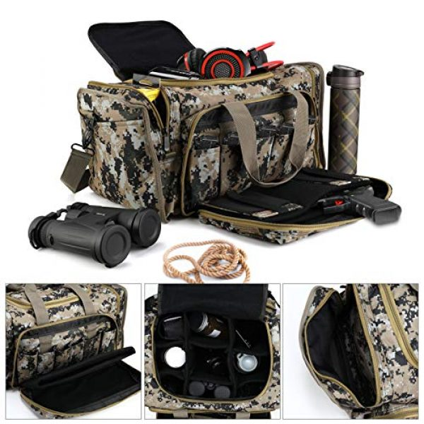 SoarOwl Pistol Case 2 SoarOwl Tactical Gun Range Bag Shooting Duffle Bags for Handguns Pistols with Lockable Zipper and Heavy Duty Antiskid Feet (Camouflage)