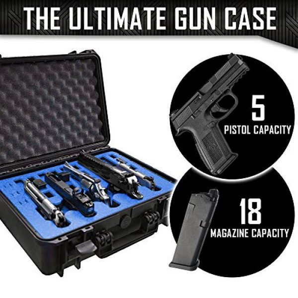 MY CASE BUILDER Pistol Case 4 5 Pistol 18 Magazine Doro Gun Case with Custom MyCaseBuilder Foam Insert - Waterproof, Heavy Duty - Tactical Firearms and Ammunition Holder, 18 x 14 x 7 Inches