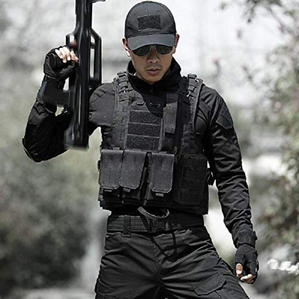 HYCOPROT Airsoft Tactical Vest 6 HYCOPROT Tactical Vest, 1000D Oxford Adjustable Military Airsoft Vest with Multipurpose Pouches for Paintball, Combat, Training, Outdoor, Shooting, Hunting