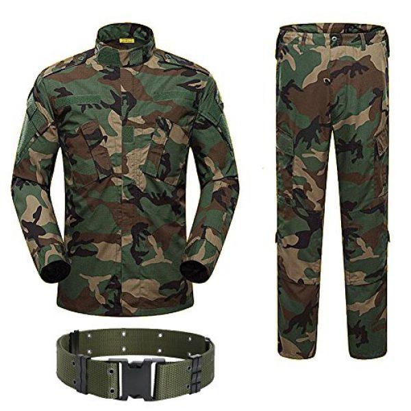 H World Shopping Tactical Shirt 1 H World Shopping Military Tactical Mens Hunting Combat BDU Uniform Suit Shirt & Pants with Belt Woodland Camo