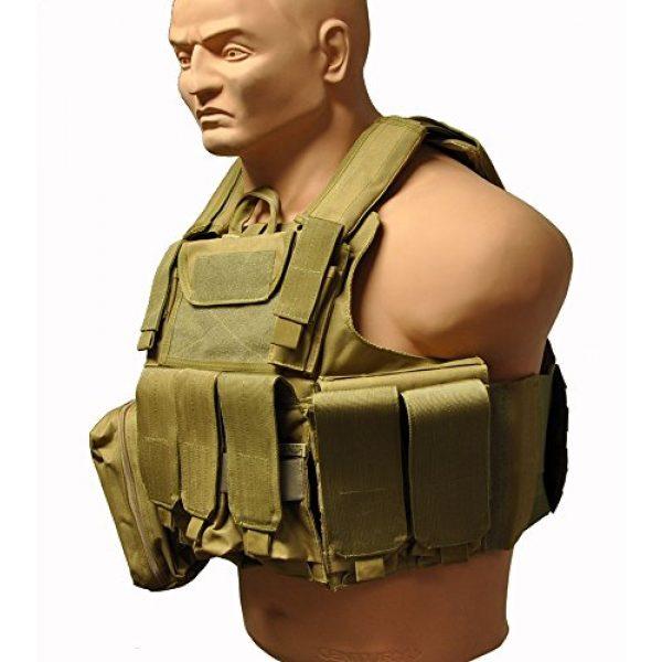 KTW Products Airsoft Tactical Vest 2 KTW Law Enforcement Military Airsoft Tactical Molle Vest M-XL w/Multiple Pouches (TAN)