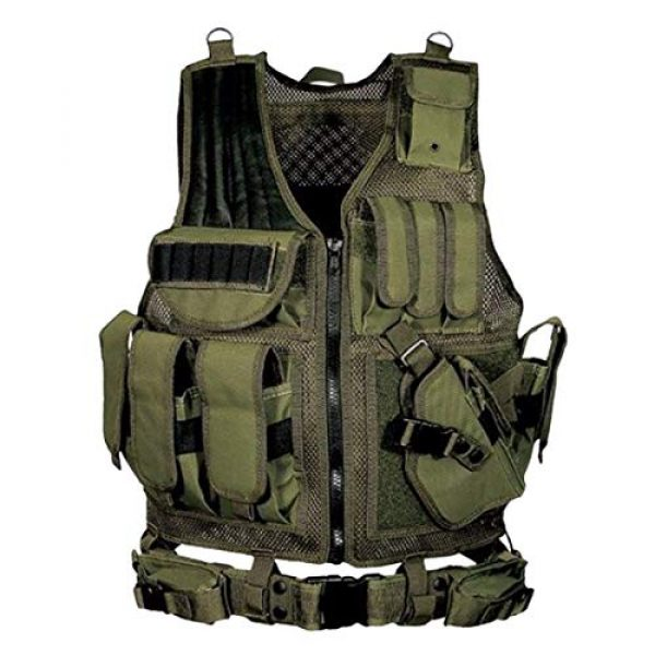 WOLFBUSH Airsoft Tactical Vest 1 WOLFBUSH Tactical Molle Vest, Tactics Military Airsoft Paintball Vest Adjustable Assault Vest Waistcoat for Airsoft Wargame Hunting - Green