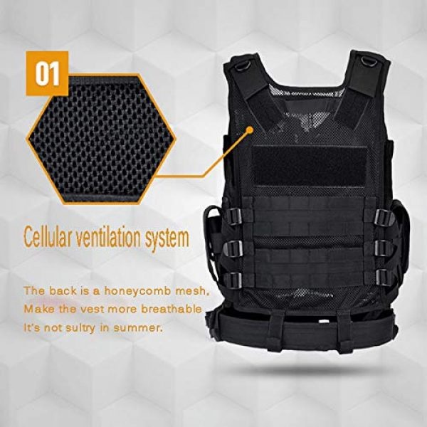 A0ZBZ Airsoft Tactical Vest 3 A0ZBZ Tactical Vest, Multi-Pocket Sports Vest, Polyester Adjustable Lightweight Combat-Vest for Games or Training, Outdoor Hunting Hiking Equipment