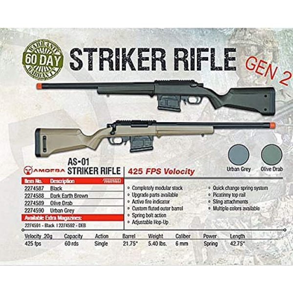 Elite Force Airsoft Rifle 3 Elite Force Amoeba AS-01 Striker Rifle Gen2 6mm BB Sniper Rifle Airsoft Gun, Black, One Size (2274587)