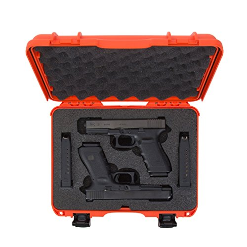 Nanuk Pistol Case 5 Nanuk 910 2UP Waterproof Hard Case w/Custom Foam Insert for Glock Pistols - Orange