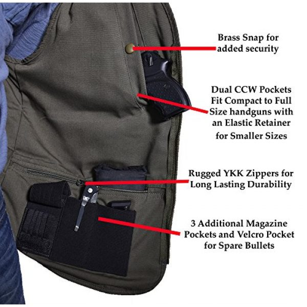 BLUE STONE SAFETY Airsoft Tactical Vest 6 Blue Stone Safety YKK Zippers Throughout Entire Concealment Vest