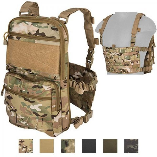 Lancer Tactical Airsoft Tactical Vest 3 Lancer Tactical 1000D Nylon QD Chest Rig and Backpack Combo (CAMO)