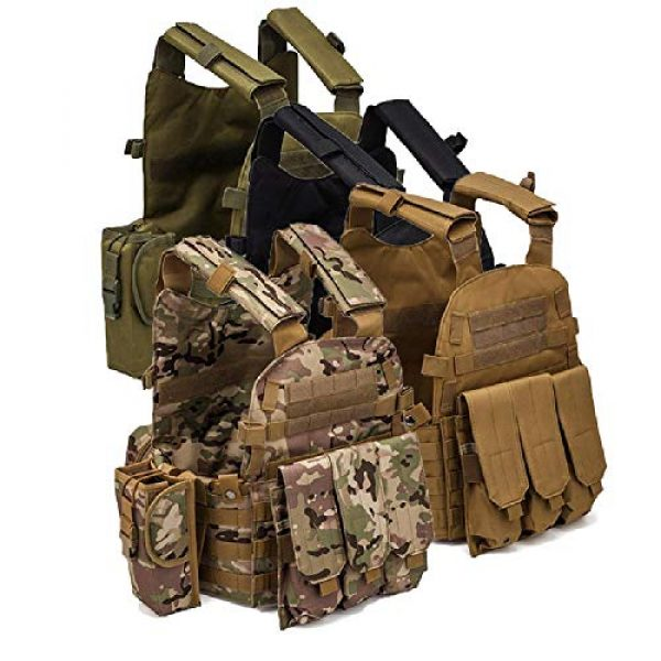 BGJ Airsoft Tactical Vest 7 Men 6094 Multicam Camo Tactical Vest Molle Modular Body Ammo Airsoft Paintball Combat Military Hunting Vest Clothes Accessories