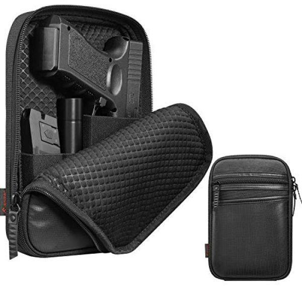 FINPAC Pistol Case 1 FINPAC Concealed Carry Gun Pouch, Pistol Holster Fanny Pack Waist Pocket for Handgun with Belt Loops, Black