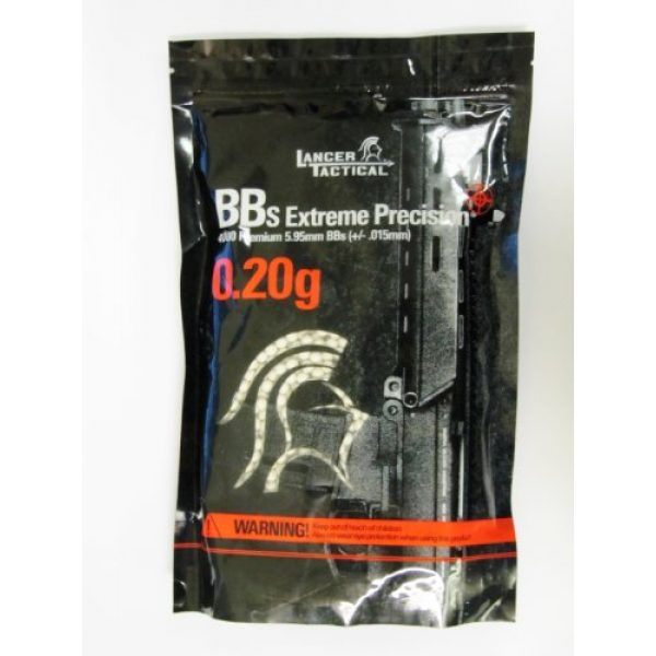 Lancer Tactical Airsoft BB 2 Lancer Tactical BBS in Bag 4000 Rounds (White, 0.20g)