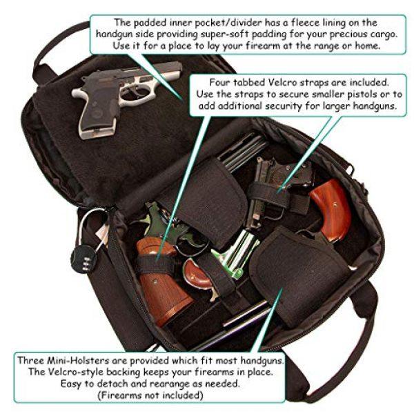 First Choice Gear Pistol Case 3 Pistol Case Range Bag for Handguns by FirstChoice - 2 to 4 Gun Padded Tactical Handgun Shooting Soft Case, Lockable Zippers w/Padlock, 3 Mini-Holsters, 8 Mag Slots, 4 Pockets, w/Range Mat