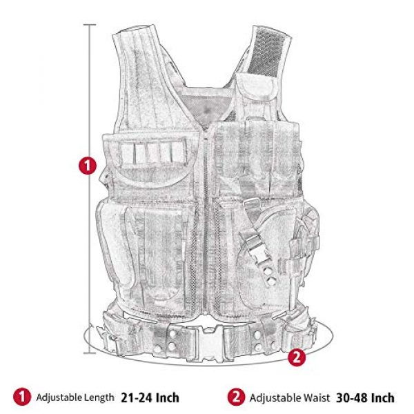 WWahuayuan Airsoft Tactical Vest 6 WWahuayuan Adjustable Tactical Vest Trainning Tactical Airsoft Paintball Ultralight Breathable Combat Training Vest for Adults 600D Encryption Polyester-VT-1063