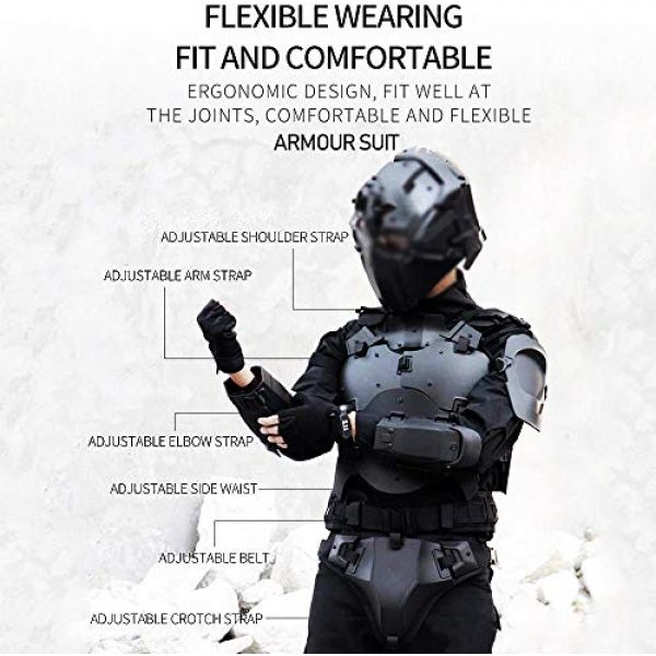 WoSporT Airsoft Tactical Vest 4 Airsoft Vest Body Armor Vests Adjustable Tactical Molle Chest Protector Vest+Elbow+Shoulder+Crotch+Battle Belt Set Paintball Military Combat Training Gear Motorcycle CS Cosplay Movie Costumes