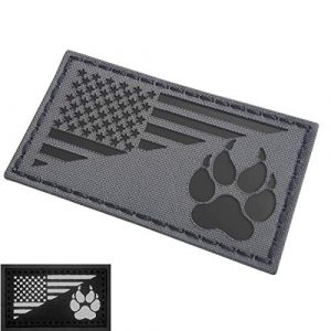 Tactical Freaky Airsoft Morale Patch 1 IR Dog Handler Paw Wolf Gray USA Flag Infrared Tactical Morale Fastener Patch