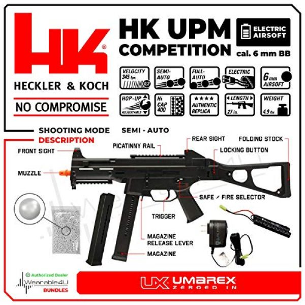 Wearable4U Airsoft Rifle 2 Umarex HK HeckIer&Koch UMP Competition Series AEG Electric Full/Semi Automatic 6mm BB Rifle Airsoft Airgun with Wearable4U Bundle