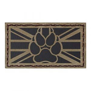 Tactical Freaky Airsoft Morale Patch 1 IR Tan UK Union Jack Flag Infrared Coyote Brown K9 Dog Handler Paw K-9 Tactical Morale Fastener Patch