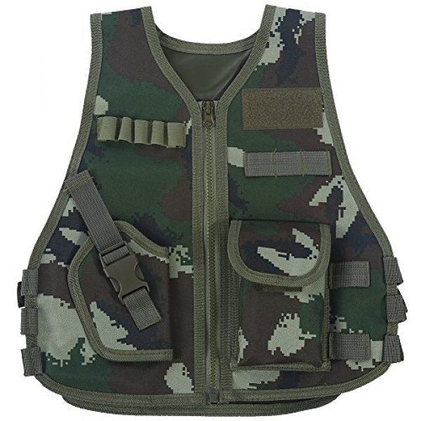 Fishlor Airsoft Tactical Vest 1 Fishlor Adjustable Camouflage Vest, Children Camouflage V-Neckline Vest with Multi Pocket for Outdoor Hunting Game(Jungle Camouflage S)