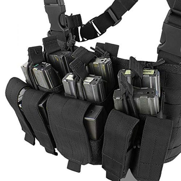 ATG Airsoft Tactical Vest 3 ATG Tactical Recon Rifle Pistol Magazine Pouches Chest Rig (Black)