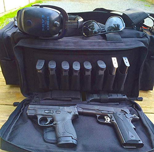 "3S Tactical Pistol Case 2 Range Bag Gun Ammo Bag Large Tactical Pistol Duffle Handgun Carrying Case Shooting Bag 24""x17""x10"""