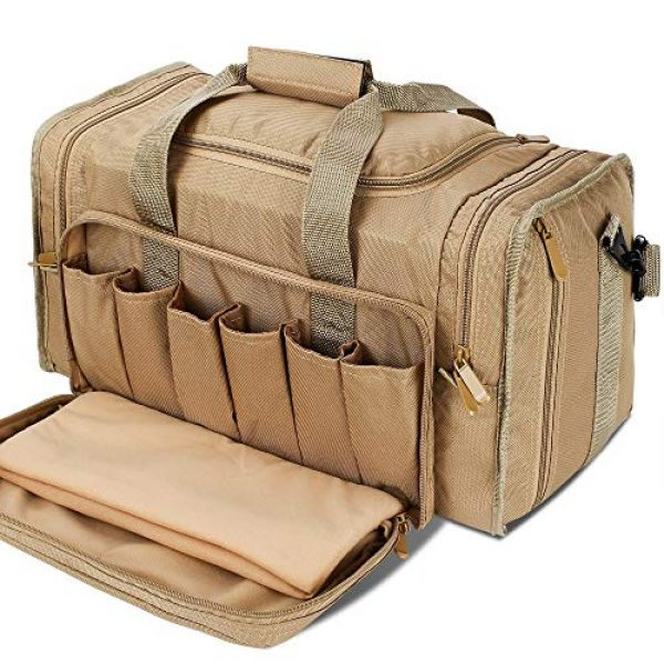 SoarOwl Pistol Case 1 SoarOwl Tactical Gun Range Bag Shooting Duffle Bags for Handguns Pistols with Lockable Zipper and Heavy Duty Antiskid Feet (Tan)
