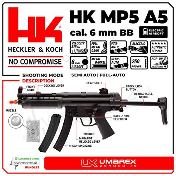 Wearable4U Airsoft Rifle 2 Umarex HK Heckler&Koch MP5 A5 Elite Series AEG Electric Automatic 6mm BB Rifle Airsoft Gun with Wearable4U Bundle