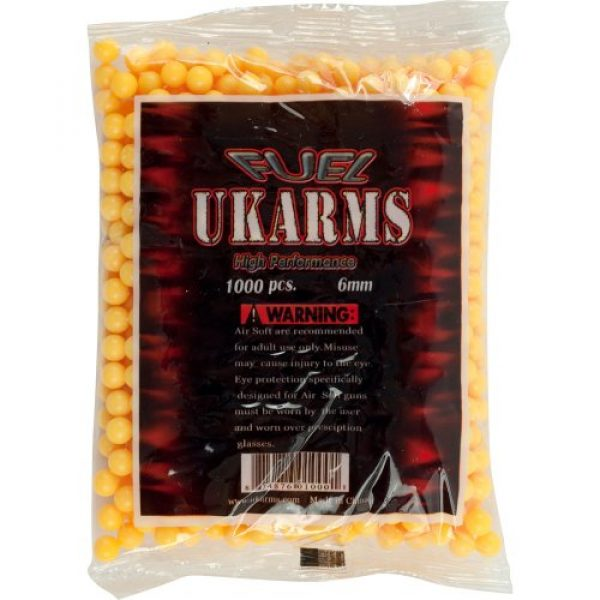 UKARMS Airsoft BB 1 UKARMS 1000 6mm Airsoft 0.12-Gram BBS by Whetstonet, Orange BBS, 6mm