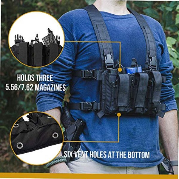 OneTigris Airsoft Tactical Vest 6 OneTigris Mini Chest Rig & Triple Kangaroo Mag Pouch Tactical Placard 02 (Black)